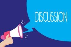 Diskussion för textteckenvisning Begreppsmässig fotoprocess av att tala om något för att som når ett beslut vektor illustrationer