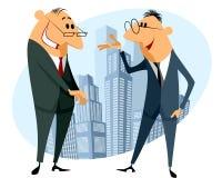 Diskussion mit zwei Geschäftsmännern Stockfoto