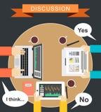 Diskussionsbegreppsillustration Mötebegreppsillustration Plan design Idékläckningbegreppsillustration Definiera avslutningen Arkivfoto