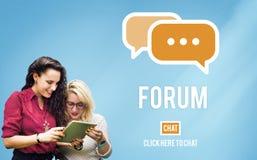 Diskutera begreppet för forumchattgruppämnet arkivbild