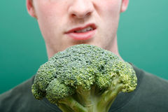 Dislike broccoli Stock Photography