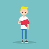 Dislike concept. Displeased blond teenage boy wearing foam finger. /  flat  illustration Royalty Free Stock Image