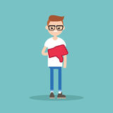 Dislike concept. Displeased nerd boy wearing foam finger. /  flat  illustration Stock Photography