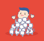 Dislike it concept.Thumbs down symbols.Unhappy cartoon man brush aside the hill red buttons hand dislike.Flat design Royalty Free Stock Images