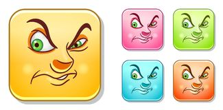 Dislike Evil Emoticons collection Stock Photos