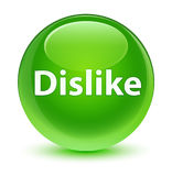 Dislike glassy green round button Stock Photography