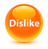 Dislike glassy orange round button Stock Photography