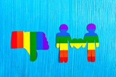 Dislike hand symbol. Sign thumb down. Homosexual relationships. Royalty Free Stock Photos