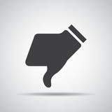 Dislike icon with shadow on a gray background. Vector illustration stock illustration
