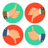 Thumbs Up, Down Icons Vector. Business Hands. Social Media Network Web Symbol. Choice Concept. Vote Finger. Good, Bad. Dislike, Like Hands Vector. Thumbs Up Royalty Free Stock Image