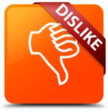 Dislike orange square button red ribbon in corner. Dislike isolated on orange square button with red ribbon in corner abstract illustration Royalty Free Stock Images