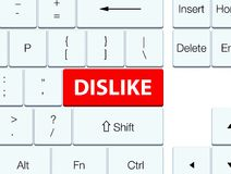 Dislike red keyboard button. Dislike isolated on red keyboard button abstract illustration Royalty Free Stock Photo