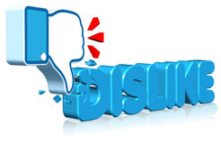 Dislike Sign. Three dimension style and high quality image Stock Images