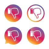 Dislike sign icon. Hand finger down symbol. Dislike sign icon. Thumb down sign. Hand finger down symbol. Gradient buttons with flat icon. Speech bubble sign Royalty Free Stock Image
