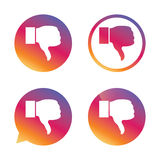 Dislike sign icon. Hand finger down symbol. Dislike sign icon. Thumb down sign. Hand finger down symbol. Gradient buttons with flat icon. Speech bubble sign Stock Photography