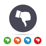 Dislike sign icon. Hand finger down symbol. Dislike sign icon. Thumb down sign. Hand finger down symbol. Round colourful buttons with flat icons. Vector Royalty Free Stock Photos