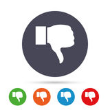 Dislike sign icon. Hand finger down symbol. Dislike sign icon. Thumb down sign. Hand finger down symbol. Round colourful buttons with flat icons. Vector Stock Image