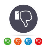 Dislike sign icon. Hand finger down symbol. Dislike sign icon. Thumb down sign. Hand finger down symbol. Round colourful buttons with flat icons. Vector Stock Photo