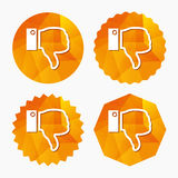 Dislike sign icon. Hand finger down symbol. Dislike sign icon. Thumb down sign. Hand finger down symbol. Triangular low poly buttons with flat icon. Vector Stock Photos