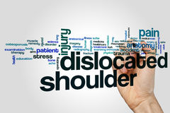 Dislocated shoulder word cloud concept on grey background.  royalty free stock photos