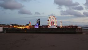Dismaland Weston-Super-Mare Somerset England UK theme park by the artist Banksy in early evening in the disused Tropicana swimming stock video