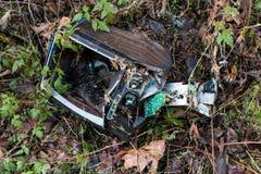 Dismantled捣毁了与植物和杂草生长的电视机 库存照片