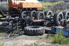 Dismantled old truck in a dump Stock Images