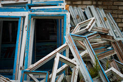Dismantled the old wooden windows Royalty Free Stock Photos