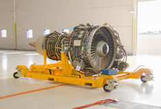 Dismantled plane engine. Royalty Free Stock Photo