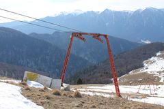 Dismantled ski lift installation Stock Photography