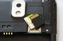 Dismantled smartphone with SD and micro SIM card Stock Photos