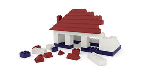 Dismantled toy house Stock Photos