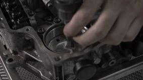 Dismantling automotive modern automatic transmission DSG7, close-up, hydroaccumulator. Dismantling automotive modern automatic transmission DSG7, close-up stock video