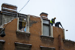 Dismantling of the building. Of St. Petersburg Stock Photo
