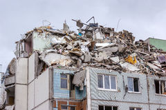 Dismantling homes after gas explosion in an apartment Royalty Free Stock Images