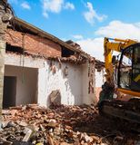 Dismantling of a house. Demolition of a house Royalty Free Stock Photos