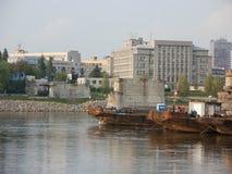 Dismantling of old bridge in Bratislava, Slovakia Stock Images