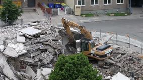 Dismantling of the old house. GERA, GERMANY, MAY 15, 2013: Dismantling of the old house in Gera, Germany stock video footage