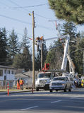 Dismantling Old Telephone Poles Stock Images