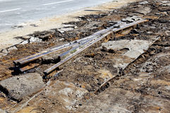Dismantling of old tram rails.  Stock Photo