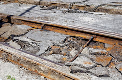 Dismantling of old tram rails Stock Photos