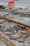 Dismantling of old tram rails Stock Image