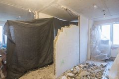Dismantling part of the wall in apartment, the overall plan. Dismantling part of the wall in the apartment, the overall plan Royalty Free Stock Images