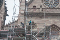 Dismantling the scaffolding after the renovation of the facade of the temple st Etienne Stock Images