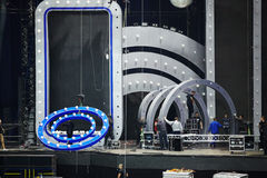 Dismantling of stage equipment after music festival Stock Image