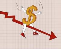 Disminución del dólar Fotografía de archivo