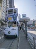 Disminución del pasajero del tranvía debido a la extensión de la línea de la isla al distrito occidental, Hong Kong Fotografía de archivo