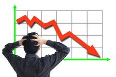 Disminución del precio de las acciones Imágenes de archivo libres de regalías