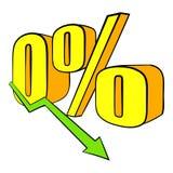 Disminución en historieta del icono de los ingresos stock de ilustración