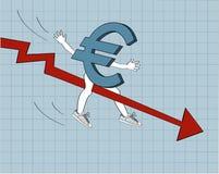 Disminución euro Foto de archivo libre de regalías